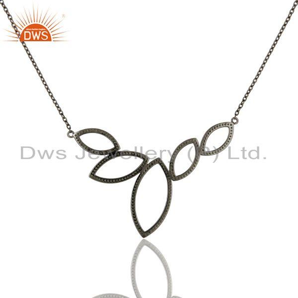 Exporter Black Oxidized with Tsavourite Sterling Silver Pendant Necklace