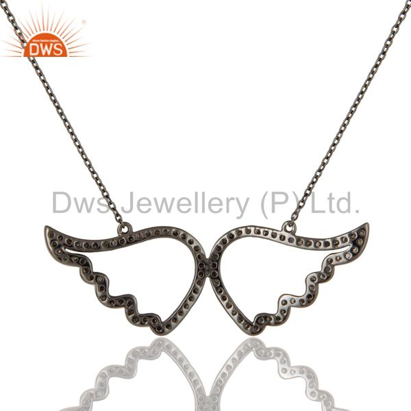 Exporter Black Oxidized with Diamond Sterling Silver Pendant Necklace