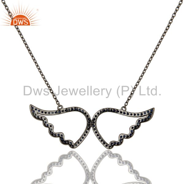 Exporter Black Oxidized with Blue Sapphire Sterling Silver Pendant Necklace