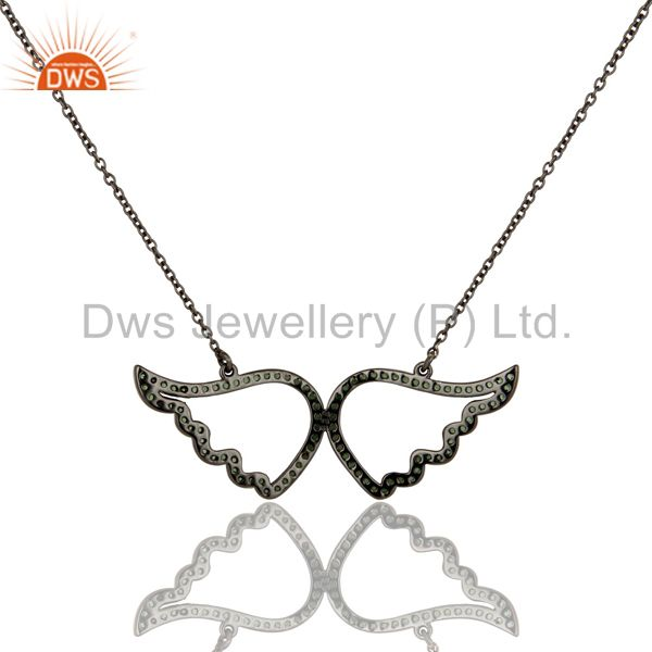 Exporter Black Oxidized with Tsavourite 925 Sterling Silver Chain Pendant Necklace