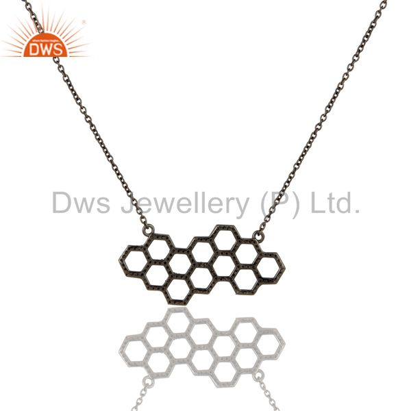Exporter Hollow Out Hole Diamond Round Oxidized Sterling Silver Chain Pendant Necklace