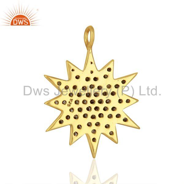 Exporter Gold Plated 925 Silver Pave Diamond Star Charm Pendant Supplier
