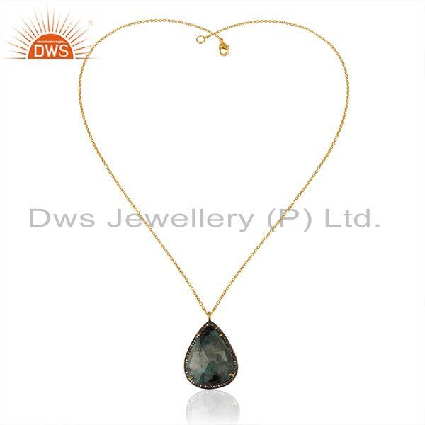 Exporter Pave Diamond and Emerald Birthstone Silver Chain Pendant Manufacturer of Jewelry