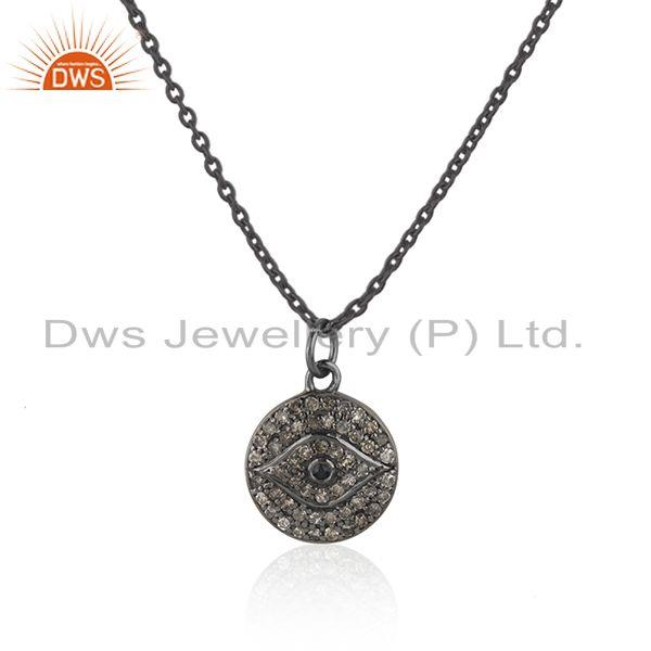 Exporter Blue Sapphire and Pave Diamond Evil Eye Design Sterling Silver Pendant