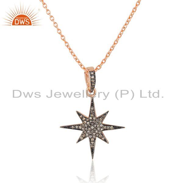 Exporter Pave Diamond Rose Gold Plated Sterling Silver Designer Chain Pendant