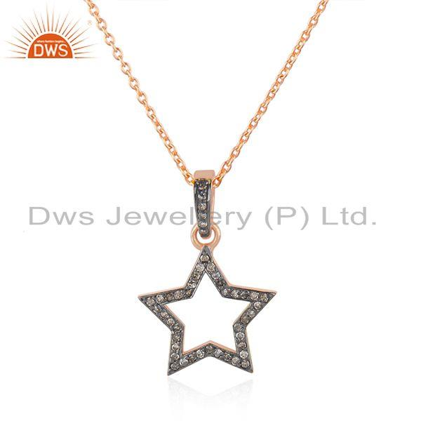 Exporter Rose Gold Plated Star Charm Pave Diamond Sterling Silver Chain Pendant
