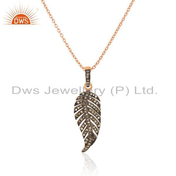 Exporter Feather Design Rose Gold Plated Sterling Silver Pave Diamond Pendant