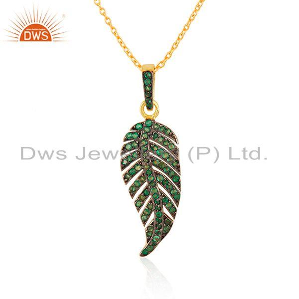 Exporter Pave Set Tsavorite Gemstone Gold Plated Silver Chain Pendant Jewelry