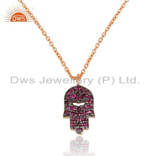Designer hamsa hand pave ruby charm necklace in gold on silver