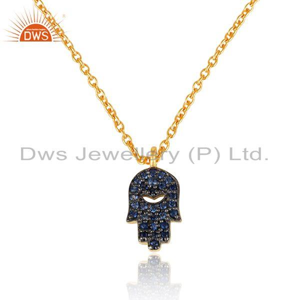 Designer hamsa pave blue sapphire charm necklace in gold on silver