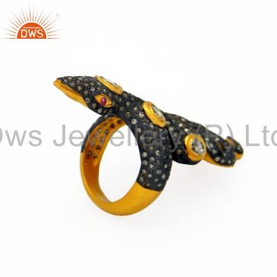 Exporter 18K Gold Over Sterling Silver Pave Diamond And Ruby Vintage Style Snake  Ring