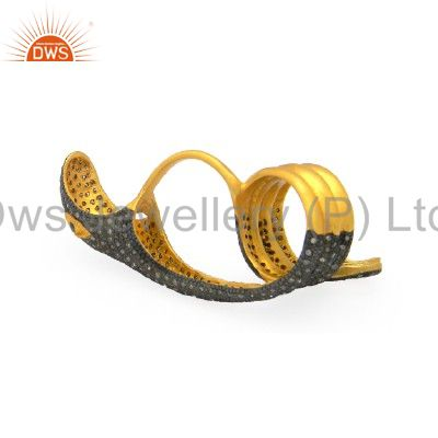 Exporter 18K Yellow Gold Plated Sterling Silver Pave Set Diamond Designer Snake Ring