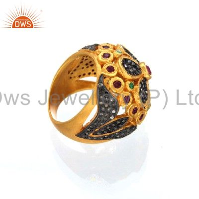 Exporter 18K Gold Over Sterling Silver Pave Set Diamond Ruby And Emerald Dome Ring