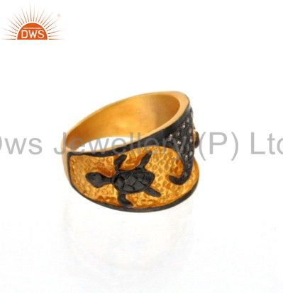 Exporter 18K Yellow Gold Over Sterling Silver Pave Set Diamond Tortoise Design Ring