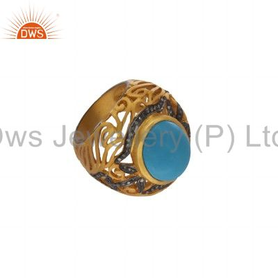 Exporter 18K Yellow Gold Over Sterling Silver Pave Set Diamond Turquoise Ring