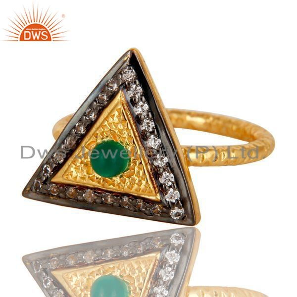 Exporter 18K Yellow Gold Plated Sterling Silver Green Onyx Hammered Band Ring With CZ