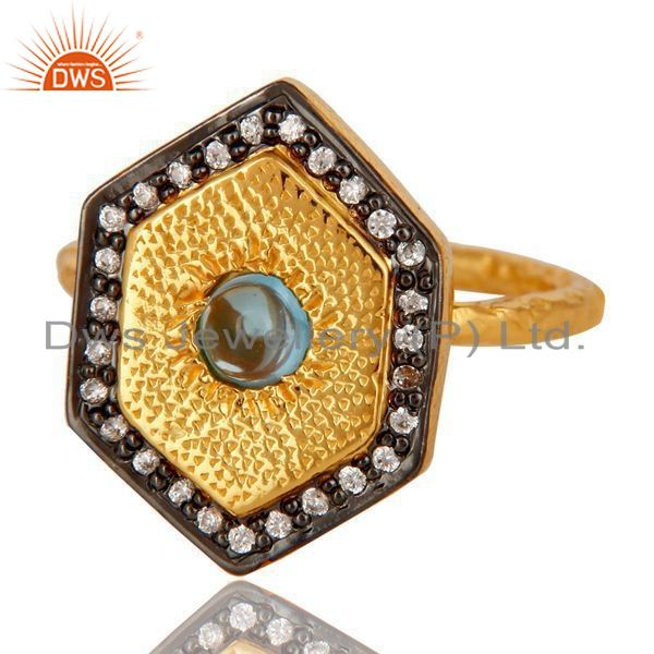 Exporter 18K Yellow Gold Plated Sterling Silver Blue Topaz Hammered Band Ring With CZ