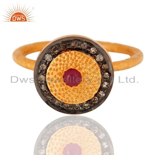 Exporter 18K Gold Plated 925 Sterling Silver Ruby Gemstone Pave Stack Ring With Diamonds