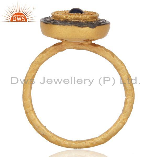 Exporter Handcrafted Fine Gold Plated Silver Jewelry Real Diamond Sapphire Brithstone Rin