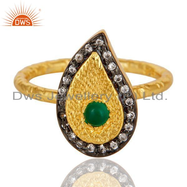 Exporter 14K Yellow Gold Plated Sterling Silver Green Onyx Hammered Drop Ring With CZ