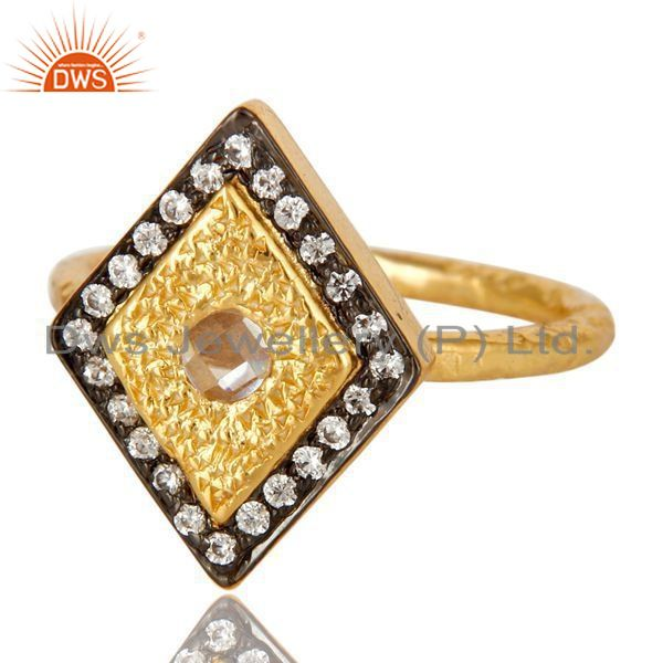 Exporter 14K Yellow Gold Plated Sterling Silver Cubic Zirconia Hammered Statement Ring