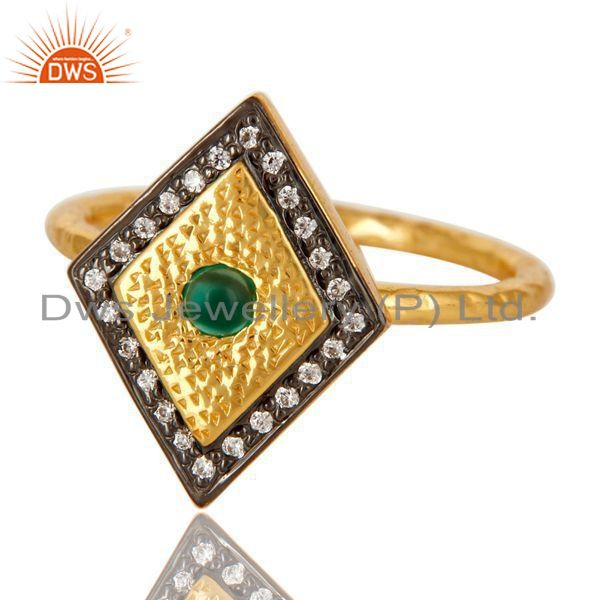 Exporter 14K Yellow Gold Plated Sterling Silver Green Onyx And CZ Hammered Statement Ring