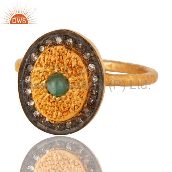 Exporter Pave Diamond Emerald Gemstone Sterling Silver Statement Ring With 18K Gold Plate