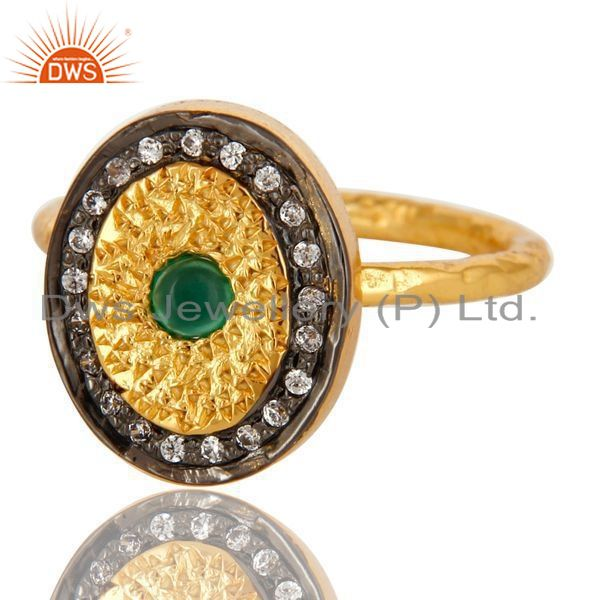 Exporter 14K Yellow Gold Plated Sterling Silver Green Onyx And CZ Hammered Band Ring