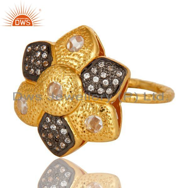 Exporter 14K Yellow Gold Plated Sterling Silver Cubic Zirconia Flower Cocktail Ring