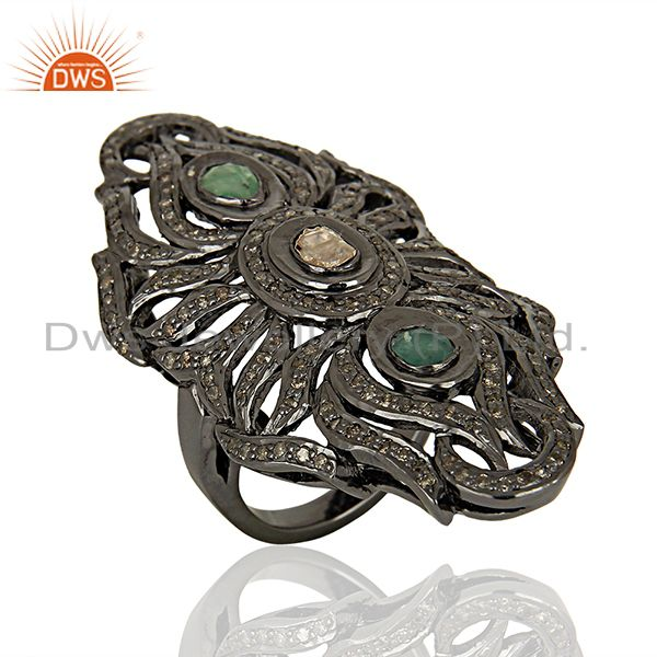 Exporter Handmade Emerald Gemstone Pave Diamond Antique Rings Jewelry Supplier