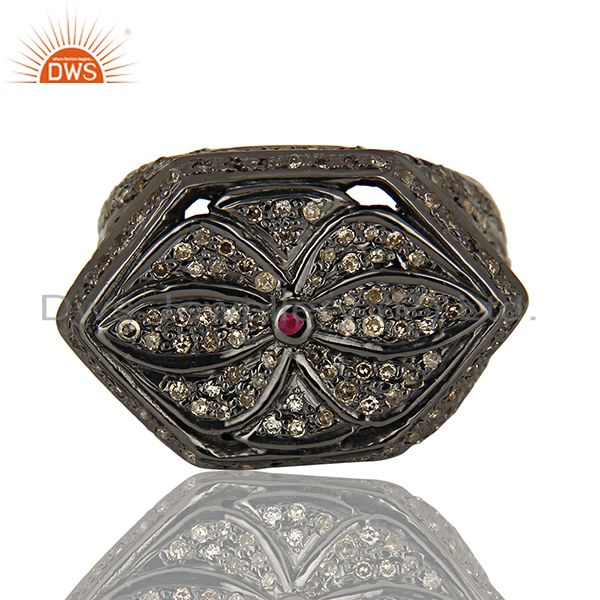 Exporter Black Rhodium Plated Pavbe Diamond Antique Silver Ring Supplier