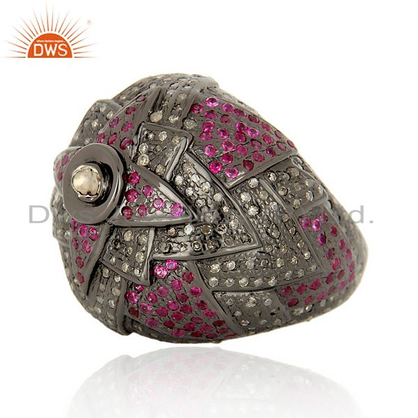 Exporter Designer Vintage Style Rose Cut Diamond Party Wear Ring Ruby 18K Gold Jewelry