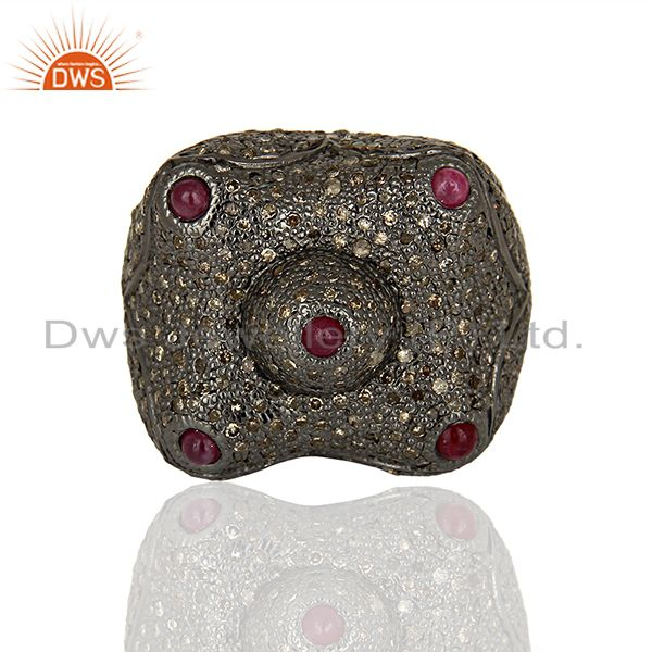 Exporter New Arrival Pave Diamond Wedding Silver Ring Jewelry Wholesale
