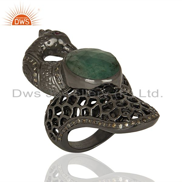 Exporter Antique Pave Set Diamond Sterling Silver Womens Rings Supplier