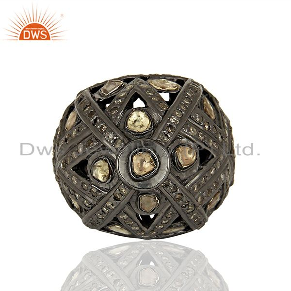 Exporter Black Rhodium Plated Silver Pave Diamond Ring Manufacturer Jewelry