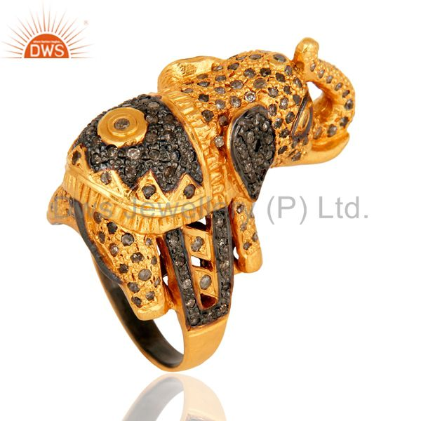 Exporter 925 Sterling Silver Pave Set Diamond Elephant Design Ring - Gold Plated
