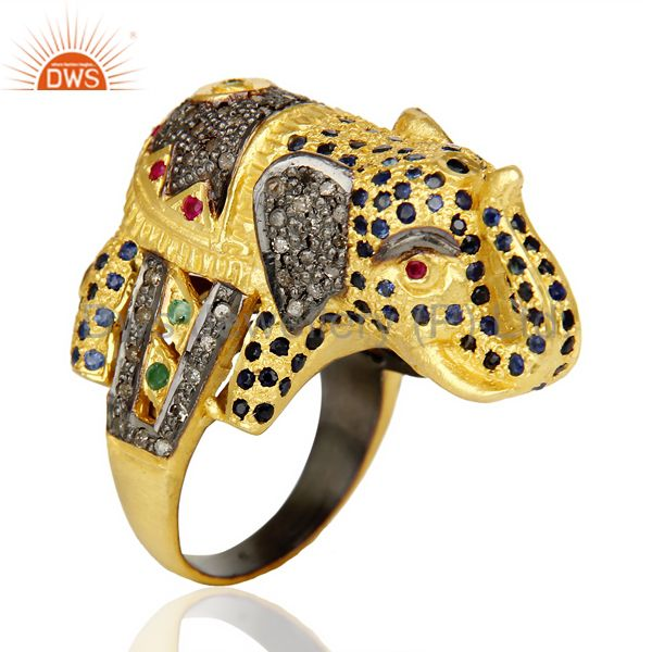 Exporter 18K Gold Over Silver Emerald, Ruby And Sapphire Pave Diamond Elephant Ring