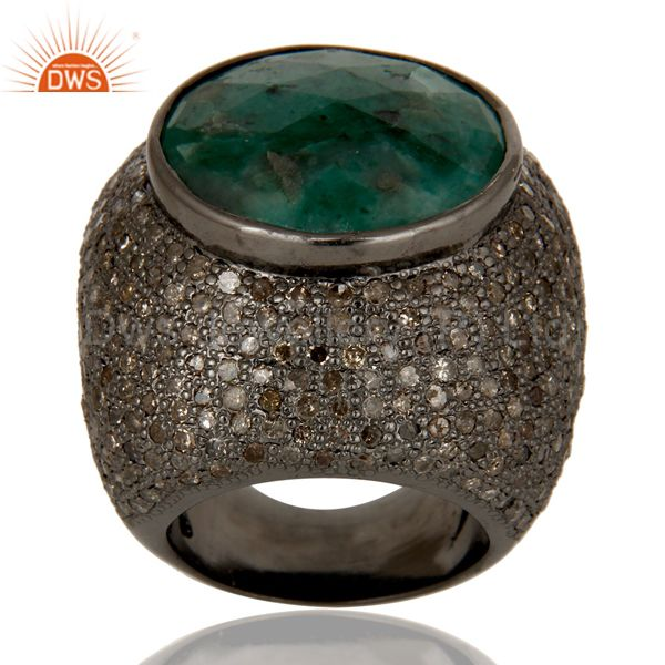 Exporter .925 Sterling Silver 18k Gold Emerald Pave Diamond Designer Wedding Ring Jewelry