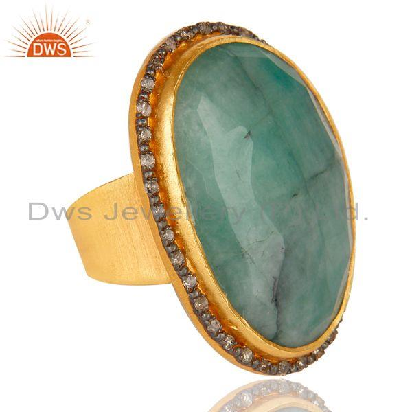 Exporter Designer Handmade Sterling Silver 22k Gold Plated Natural Emerald Gemstone Ring