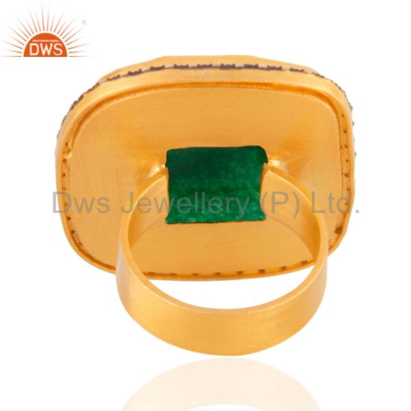 Exporter 18K Yellow Gold Plated Green Aventurine And CZ Cocktail Fashion Ring