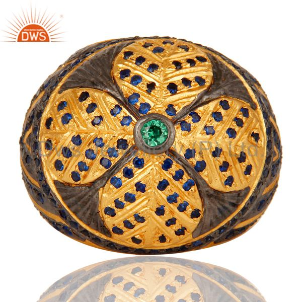 Exporter 18k Yellow Gold Plated Paveset Cubic Zirconia Designer Fashion Dome Brass Ring