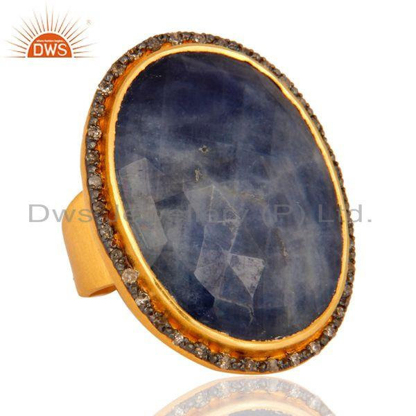 Exporter Faceted Natural Blue Sapphire Diamond Pave Set 925 Sterling Silver Ring For Lady