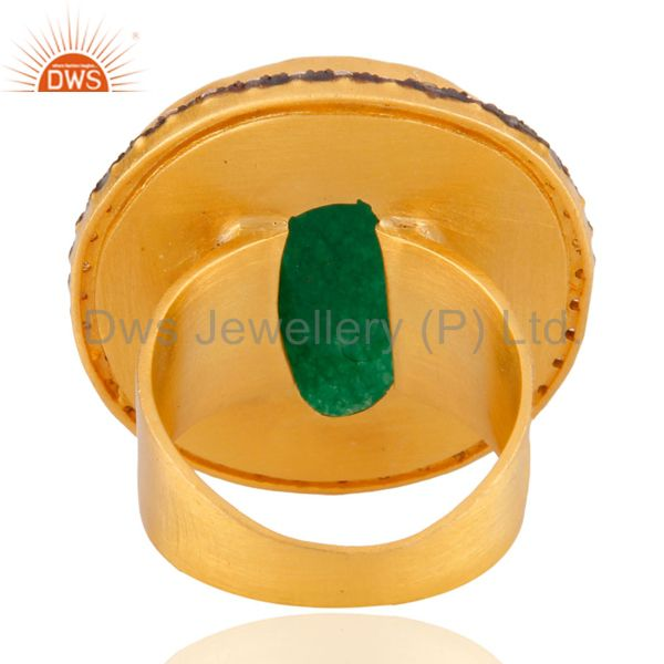 Exporter Faceted Green Aventurine Gemstone 22K Gold Plated Cocktail Ring With CZ