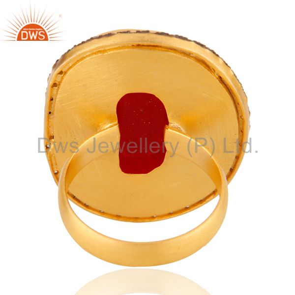 Exporter Faceted Red Aventurine Gemstone 24K Gold Plated Cocktail Ring With CZ