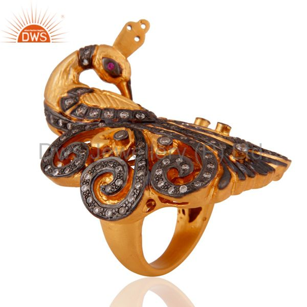 Exporter 18k Yellow Gold Plated 925 Sterling Silver Simulated Diamond Peacock Design Ring