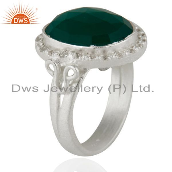 Exporter Handmade Green Onyx And Cubic Zirconia Handmade Sterling Silver Ring