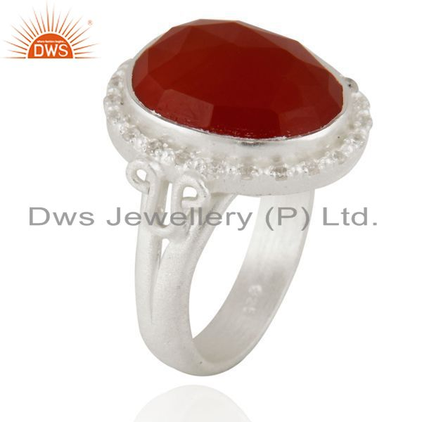 Exporter 925 Sterling Silver Faceted Red Onyx Gemstone And White Zircon Handmade Ring