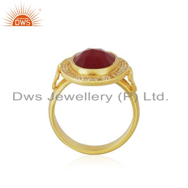Exporter Handmade 925 Sterling Silver Red Onyx Gemstone Gold Plated Ring Size 7 Jewelry
