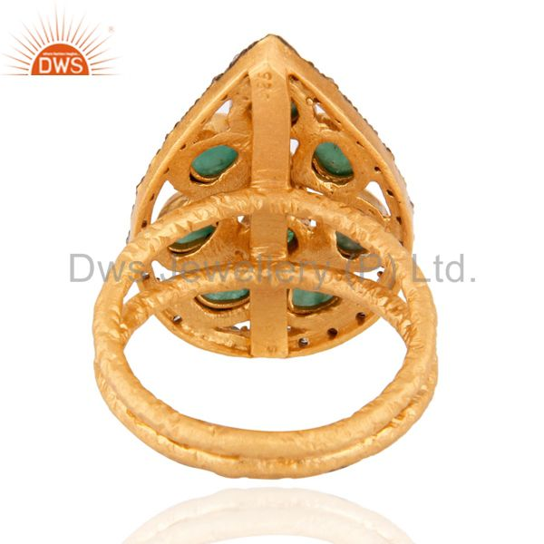 Exporter 925 Sterling silver Emerald Gemstone Diamond Ring in 24k Brushed Gold Plated