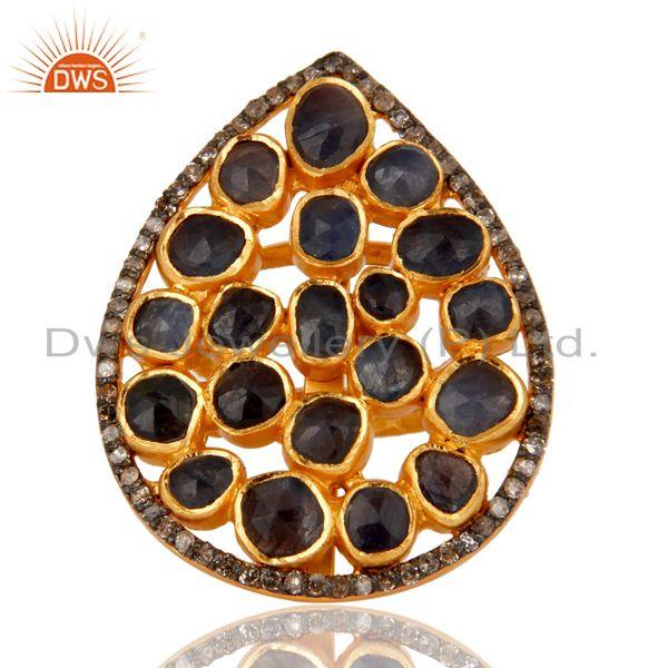 Exporter 925 Silver Blue Sapphire Slice Diamond Texture Finished 18k Gold Plated Ring
